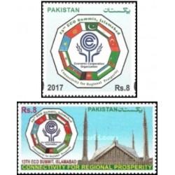 2 عدد تمبر سیزدهمین اجلاس سازمان همکاری اقتصادی اکو - اسلام آباد - پرچم ایران -  پاکستان 2017