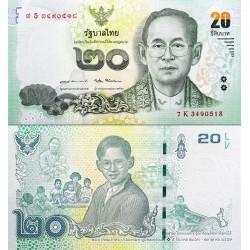اسکناس یاذبودی  20 بات - تایلند 2017 تصویر پشت : شاه بامیبول در سنین مختلف