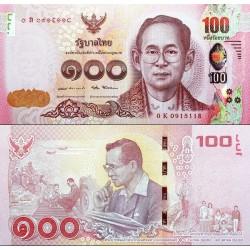 اسکناس یادبودی  100 بات - تایلند 2017 تصویر پشت : شاه بامیبول در سنین مختلف