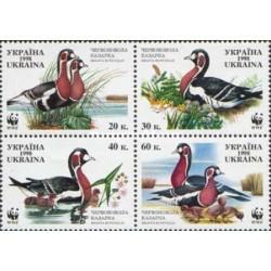4 عدد تمبر  گونه های در معرض خطر - WWF - غاز سینه سرخ - S - اوکراین 1998