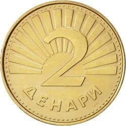 سکه 2 دینار - برنجی - مقدونیه 1993غیر بانکی