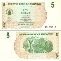 اسکناس 5 دلار - زیمباوه 2007