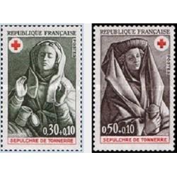 2 عدد تمبر صلیب سرخ  - تابلو - فرانسه 1973