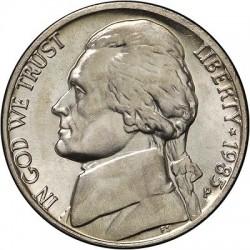 سکه 5 سنت - نیکل مس - آمریکا  1985غیر بانکی