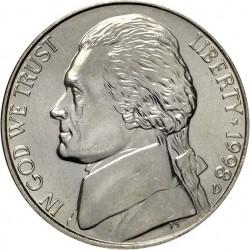سکه 5 سنت - نیکل مس - آمریکا  1998غیر بانکی