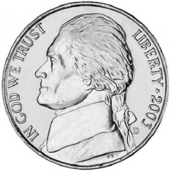 سکه 5 سنت - نیکل مس - آمریکا 2003 غیر بانکی