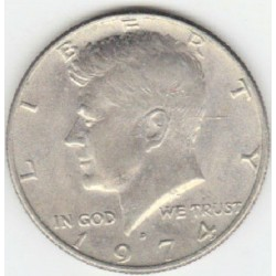 سکه 50 سنت - نیم دلار - نیکل مس - آمریکا 1974 غیر بانکی
