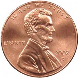 سکه 1 سنت - برنجی - آمریکا 2002 غیر بانکی