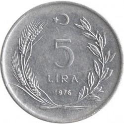 سکه 5 لیر - آلومنیوم  - ترکیه 1976 غیر بانکی