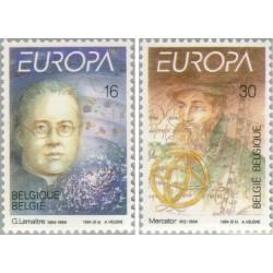 2 عدد تمبر مشترک اروپا - Europa Cept - مخترعین و مکتشفین - بلژیک 1994 قیمت 2.6 دلار