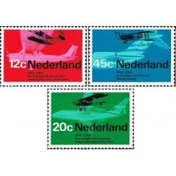 3 عدد تمبر هوانوردی - هواپیمای فوکر فلوشیپ - هلند 1968