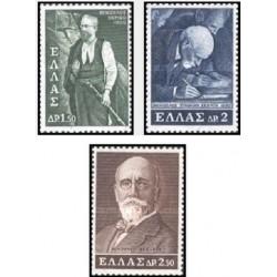 3 عدد تمبر یادبود صدمین سال تولد ونزیلوس - سیاستمدار - یونان 1965