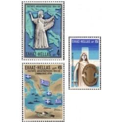 3 عدد تمبر 25مین سالروز آزادی  - یونان 1969