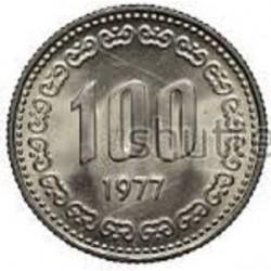 سکه  100 وون  - نیکل مس - کره جنوبی 1977 غیر بانکی