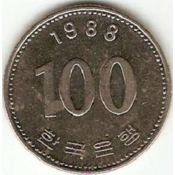 سکه  100 وون  - نیکل مس - کره جنوبی 1988 غیر بانکی