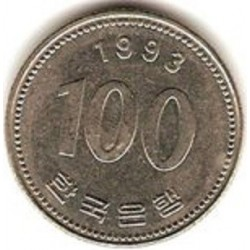 سکه  100 وون  - نیکل مس - کره جنوبی 1993 غیر بانکی