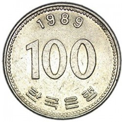 سکه  100 وون  - نیکل مس - کره جنوبی 1989 غیر بانکی