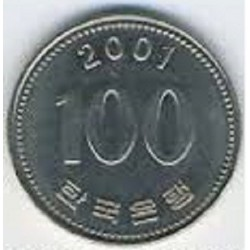 سکه  100 وون  - نیکل مس - کره جنوبی 2001 غیر بانکی