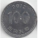 سکه  100 وون  - نیکل مس - کره جنوبی 2012 غیر بانکی