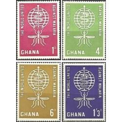 4 عدد تمبر ریشه کنی مالاریا - غنا 1962