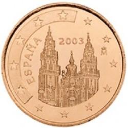 سکه 1 سنت یورو - مس روکش فولاد - اسپانیا 2003 غیر بانکی