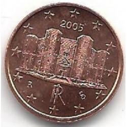 سکه 1 سنت یورو - مس روکش فولاد - ایتالیا 2005 غیر بانکی