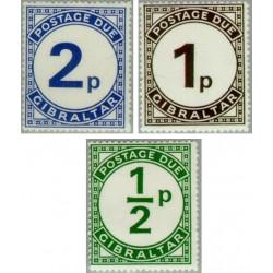 3 عدد تمبر حق تمبر - جبل الطارق 1971