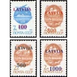 4 عدد تمبر سری پستی - سورشارژ روی تمبرهای شوروی  - لتونی 1991 قیمت 9 دلار