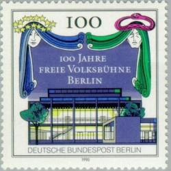 1 عدد تمبر صد سالگی تئاتر ولکس بوهنه - برلین آلمان 1990