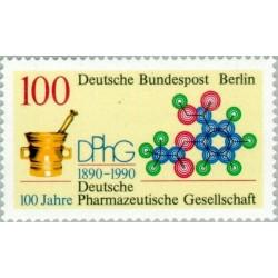1 عدد تمبر صدمین سال انجمن داروسازی - برلین آلمان 1990 قیمت 4.6 دلار