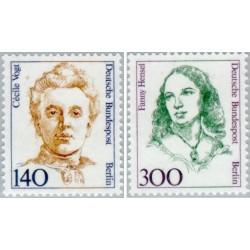 2 عدد تمبر سری پستی زنان نامدار - سسیل وگت  - فنی هنزل - برلین آلمان 1989 قیمت 17.5 دلار