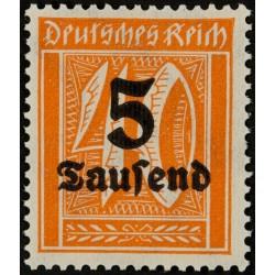 1 عدد تمبر از سری پستی - سورشارژ  5 مارک  - رایش آلمان 1923