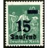 1 عدد تمبر از سری پستی - سورشارژ  15 مارک  - رایش آلمان 1923
