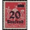 1 عدد تمبر از سری پستی - سورشارژ  20 مارک  - رایش آلمان 1923