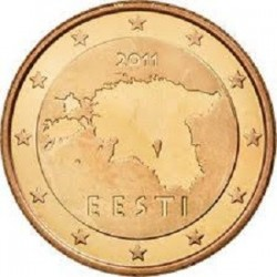 سکه 1 سنت یورو - مس روکش فولاد - استونی 2011 غیر بانکی