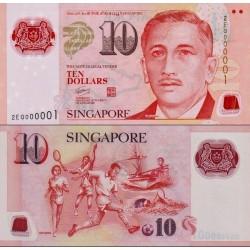 اسکناس پلیمر 10 دلار - سنگاپور 2004 بدون علائم در پشت زیر کلمه Sport