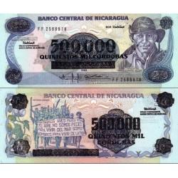اسکناس سورشارژ 500000 کردوبا روی اسکناس 1985- نیکاراگوئه 1990