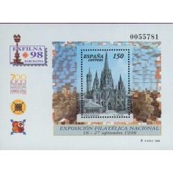 سونیرشیت نمایشگاه ملی تمبر اگزفیلنا 98 - 700مین سالگرد کلیسای بارسلونا - اسپانیا 1998