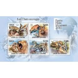 مینی شیت پستانداران - گربه های وحشی - 1 - کومور 2011 قیمت 11.64 دلار
