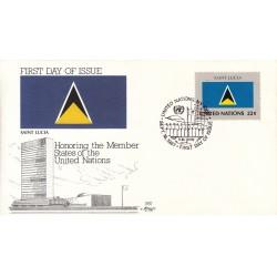 پاکت مهر روز کشورهای عضو سازمان ملل - سنت لوسیا -  نیویورک سازمان ملل 1987