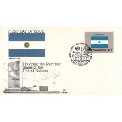 پاکت مهر روز کشورهای عضو سازمان ملل - آرژانتین -  نیویورک سازمان ملل 1987