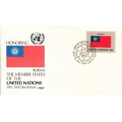 پاکت مهر روز کشورهای عضو سازمان ملل - برمه -  نیویورک سازمان ملل 1982