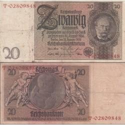 اسکناس 20 رایش مارک -رایش آلمان 1929 حرف زیر چاپی N - کیفیت مطابق عکس