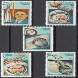 5 عدد تمبر تحقیقات فضائی - مهرخورده - مجارستان