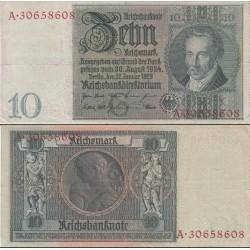 اسکناس 10 رایش مارک -رایش آلمان 1929 حرف زیر چاپی G - کیفیت مطابق عکس