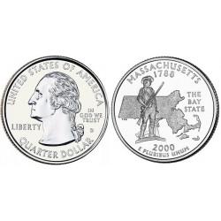 سکه کوارتر - ایالت ماساچوست - آمریکا 2000 غیر بانکی