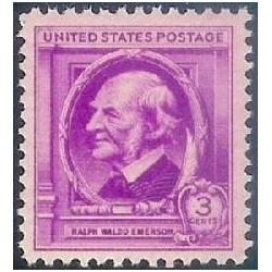 1 عدد تمبر یادبود مشاهیر آمریکا - رالف والدو امرسون - فیلسوف و نویسنده  - آمریکا 1940