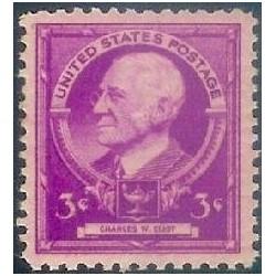 1 عدد تمبر یادبود مشاهیر آمریکا - چارلز الیوت - محقق  - آمریکا 1940