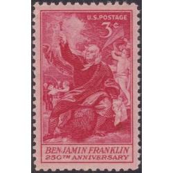 1 عدد تمبر یادبود 250مین سالگرد تولد بنجامین فرانکلین - آمریکا 1956