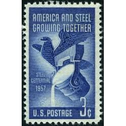 1 عدد تمبر صدمین سال صنعت فولاد - آمریکا 1957